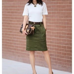 J. Crew Linen Cargo Pencil Skirt Green 10 NWT